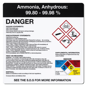 ammonia anhydrous ghs label from marking services