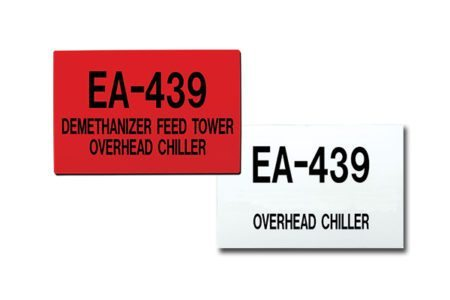 Extremely durable MS-215 Max-Tek™ signs are designed to be printed with the unique name and number of each tank or vessel