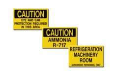 Ammonia Identification Auxiliary Door Signs MSA